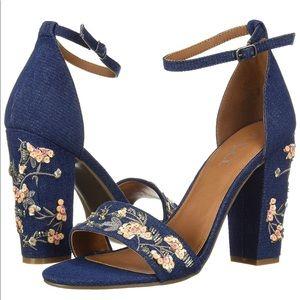 NWOT Sugar Floral Embroidered Jean strap heels 10